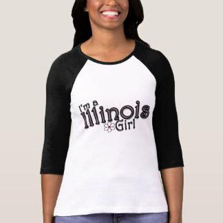 Ich bin ein Illinois-Mädchen-, Blumen-, rosa u. T-Shirt