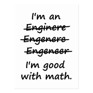 Ich bin ein Ingenieur, den ich an Mathe gut bin Postkarten