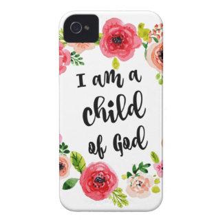 Ich bin ein Kind des Gott-Blumeneinzelteils iPhone 4 Hülle