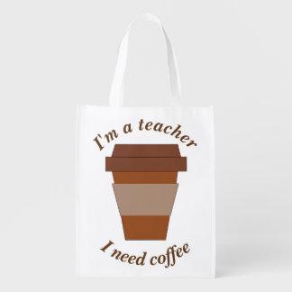 Ich bin ein Lehrer. Ich benötige Kaffee Wiederverwendbare Einkaufstasche