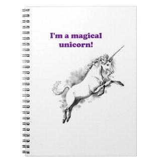 Ich bin ein magischer Unicorn-lustiger Cartoon Spiral Notizblock