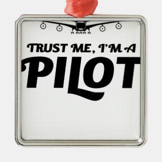 Ich bin ein Pilot Silbernes Ornament