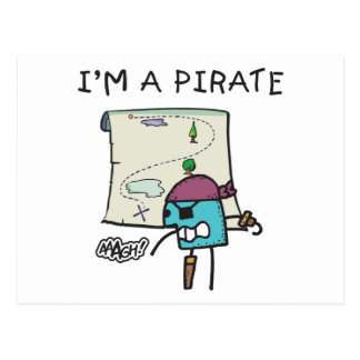 Ich bin ein Piraten-Kinder Postkarte