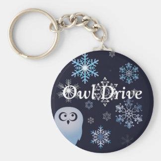 Ich bin ein Schreisnowy-Eulen-Weihnachtseulen-Blau Schlüsselanhänger