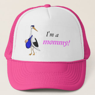 """""""Ich bin eine Mama!"""" Hut mit dem Lieferungs-Storch Truckerkappe"""