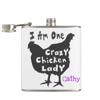 Ich bin eine verrückte Huhn-Dame Flachmann