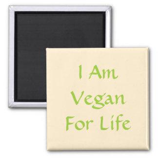 Ich bin für das Leben vegan. Grün, Creme. Slogan.  Quadratischer Magnet