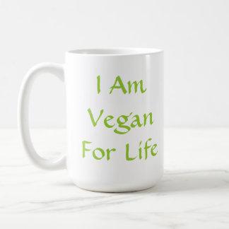 Ich bin für das Leben vegan. Grün. Slogan. Kaffeetasse