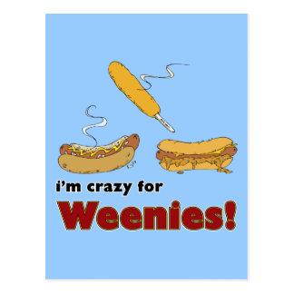 Ich bin für Weenies verrückt! Mais-Chili-Hotdog Postkarte