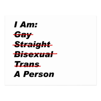 Ich bin homosexuell, gerade, bisexuell, Transport, Postkarte