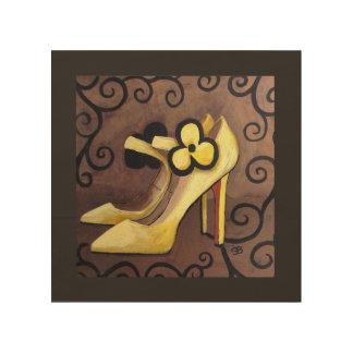 Ich bin in der Liebe mit meinen gelben Schuhen Holzleinwand