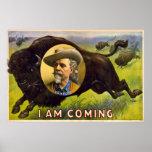 Ich bin kommende - Büffel Bill Cody - Vintage Anze Poster