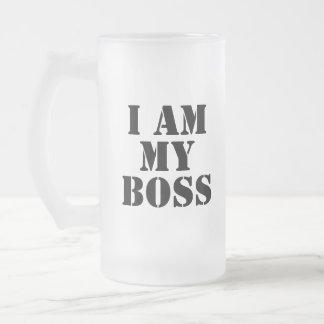 Ich bin mein Chef. Slogan Matte Glastasse