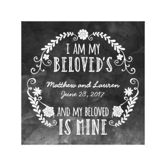 Ich bin mein geliebtes, Wedding schwarzes Aquarell Leinwand Druck