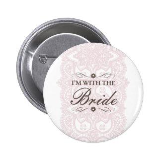 Ich bin mit der Braut-Knopf-Vintagen Blüte Anstecknadel