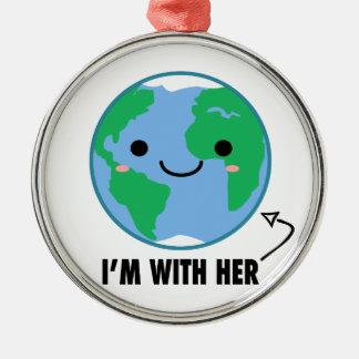 Ich bin mit ihr - Planeten-Tag der Erde Silbernes Ornament