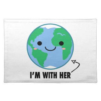 Ich bin mit ihr - Planeten-Tag der Erde Stofftischset