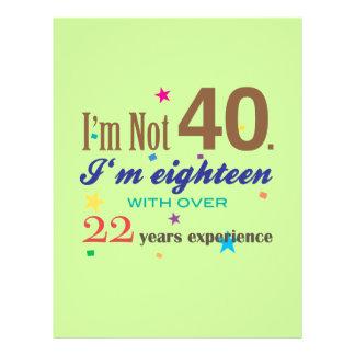 Ich bin nicht 40 - lustiges Geburtstags-Geschenk 21,6 X 27,9 Cm Flyer