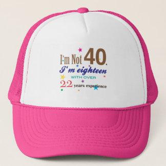 Ich bin nicht 40 - lustiges Geburtstags-Geschenk Truckerkappe