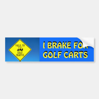 Ich bremse für Golf-Wagen-gelben Schriftart Autoaufkleber