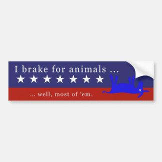 Ich bremse für Tiere (keine Esel) 2 Autoaufkleber
