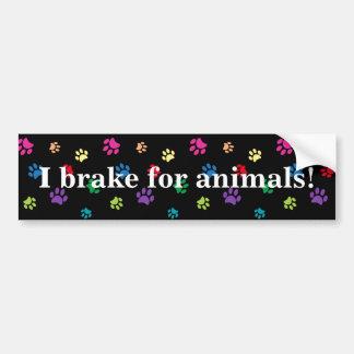 """""""Ich bremse für Tiere!"""" Regenbogen gemalte Tatzen Autoaufkleber"""