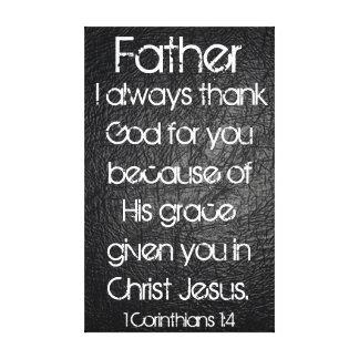 Ich danke immer Gott für Sie Vaterbibel-Vers Galerie Gefaltete Leinwand