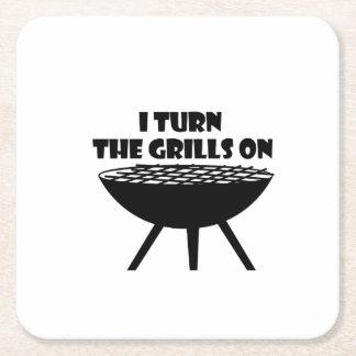 Ich drehe die Grills auf Sommer GRILLEN Rechteckiger Pappuntersetzer