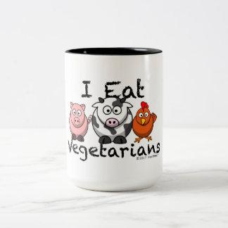 Ich esse Vegetarier-Tasse Zweifarbige Tasse