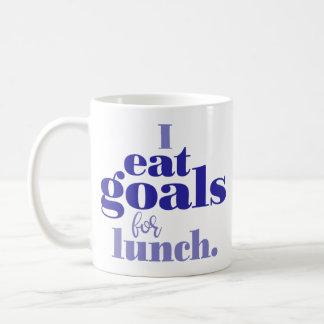 """""""Ich esse Ziele für das Mittagessen"""" Typografie Kaffeetasse"""