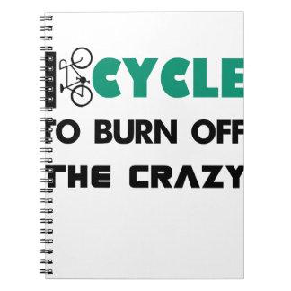 Ich fahre rad, um das verrückte, Fahrrad Spiral Notizblock
