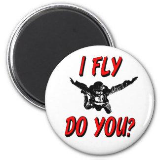 Ich fliege, tun Sie? (Schwarzes) Runder Magnet 5,1 Cm