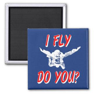 Ich fliege, tun Sie? (weiß) Quadratischer Magnet