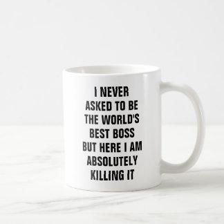 Ich fragte nie, um der beste Chef aber er der Welt Kaffeetasse