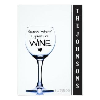 Ich gab Wein lustige Schwangerschafts-Mitteilung 12,7 X 17,8 Cm Einladungskarte