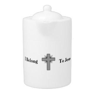 Ich gehöre Jesus-Teekanne mit Kreuz