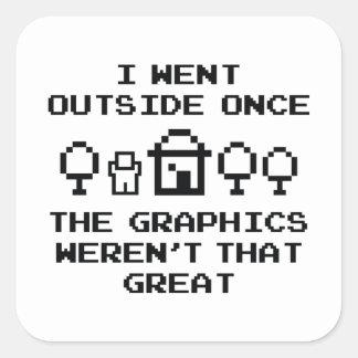 Ich ging Außenseite einmal Quadratischer Aufkleber