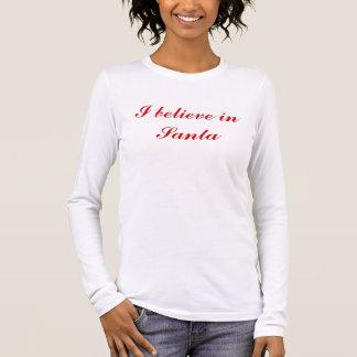 """""""Ich glaube an Sankt"""" Spitze Frauen Weihnachts Langarm T-Shirt"""