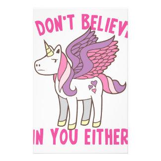 ich glaube an Sie auch nicht! freches Einhorn Briefpapier