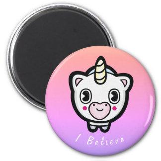 Ich glaube Emoji Einhorn Ombre Magent Runder Magnet 5,1 Cm
