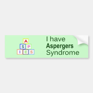 Ich habe Aspergers Syndrom - ASPIES Autoaufkleber
