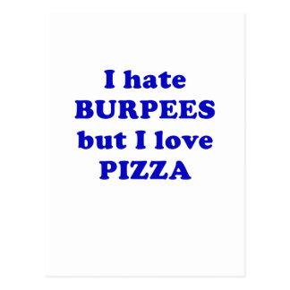 Ich hasse Burpees aber i-Liebe-Pizza Postkarte