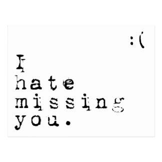 Ich hasse die vermisste Sie-Aber i-Liebe die Sie Postkarte