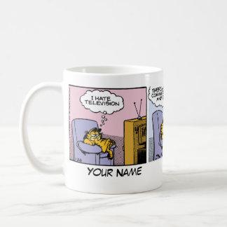 """""""Ich hasse Fernseh"""" Garfield-Comic-Streifen Tasse"""