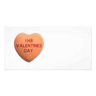 Ich hasse Valentinstag-orange Süßigkeits-Herz Individuelle Foto Karten