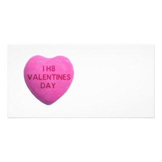 Ich hasse Valentinstag-rosa Süßigkeits-Herz Fotogrußkarten