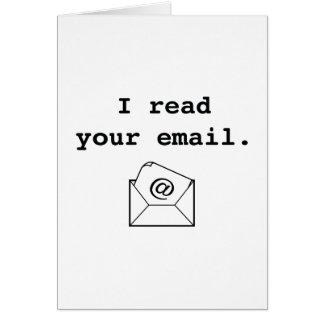 Ich las Ihre E-Mail Karte