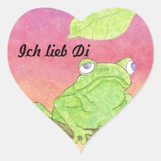 Ich Lieb Di frog Herzaufkleber