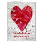 Ich liebe dich, deutsche SprachValentinsgruß, Herz Karte
