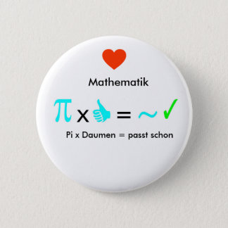 Ich liebe Mathematik Runder Button 5,7 Cm